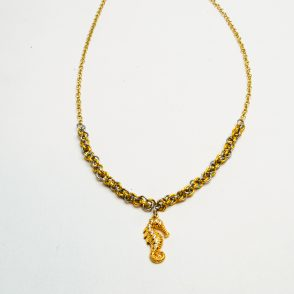 Stainless Steel and Gold Chainmaille Necklace with Gold Sea Horse Charm
